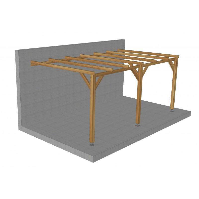 carport pergola de style adosse toiture plate 15 m