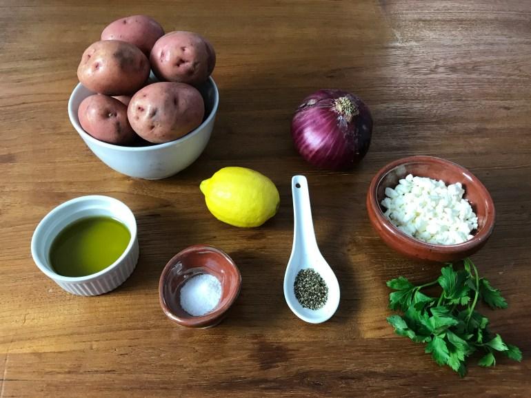 KitchAnnette Greek Potato Salad ingr