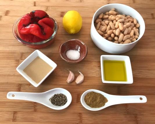 KitchAnnette Red Pepper White Bean Hummus Ingredients