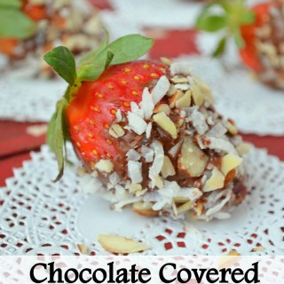 Chocolate Covered Strawberries with Toasted Coconut and Almonds