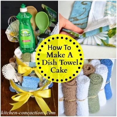 Creative soap ideas dish towel cake step by step for Bridal shower kitchen tea ideas fashion