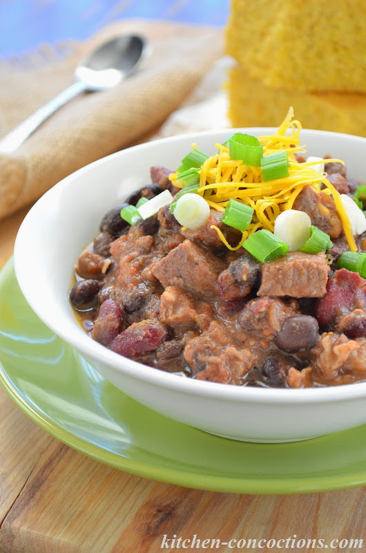 Slow Cooker Bourbon Beef and Bean Chili