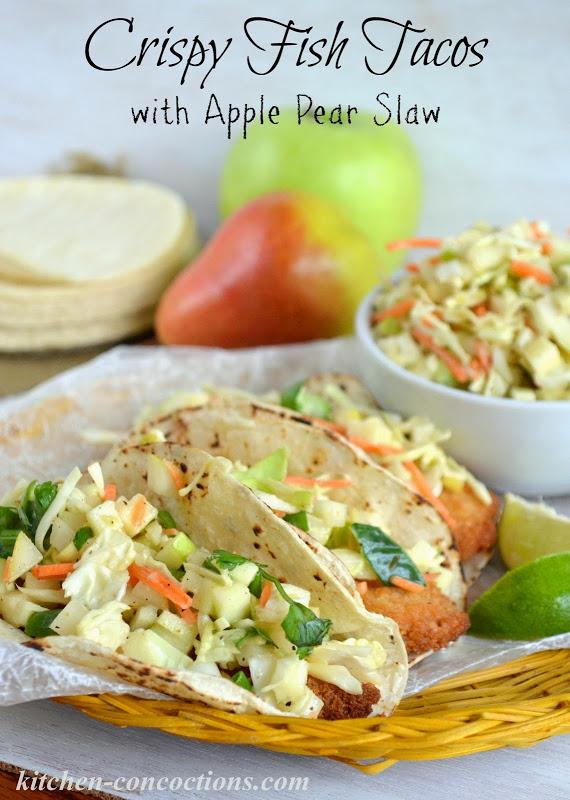 Crispy Fish Tacos with Apple Pear Slaw