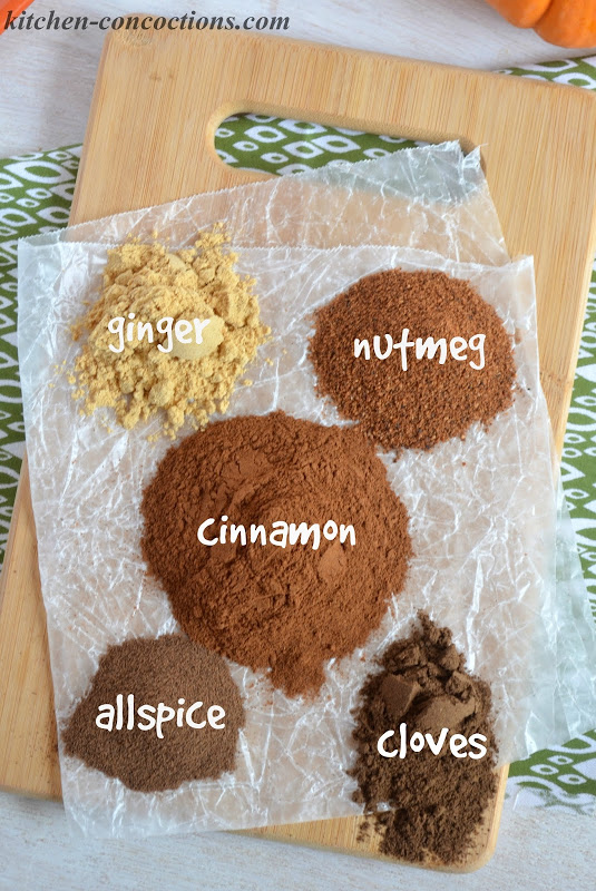 ground ginger, nutmeg, cinnamon,allspice and cloves on a wooden cutting board