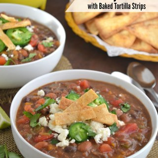 Beef Fajita Chili with Easy Baked Tortilla Strips