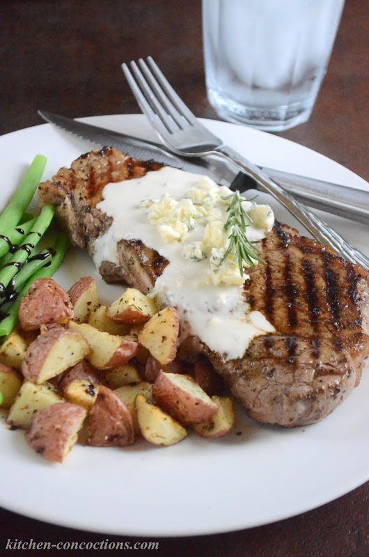 Grilled Black Pepper New York Strip with Blue Cheese Sauce