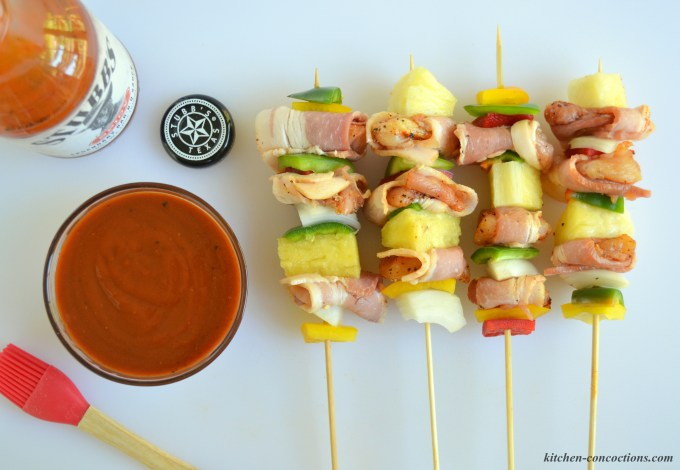 Spicy Bar-B-Q Bacon Wrapped Chicken Kabobs