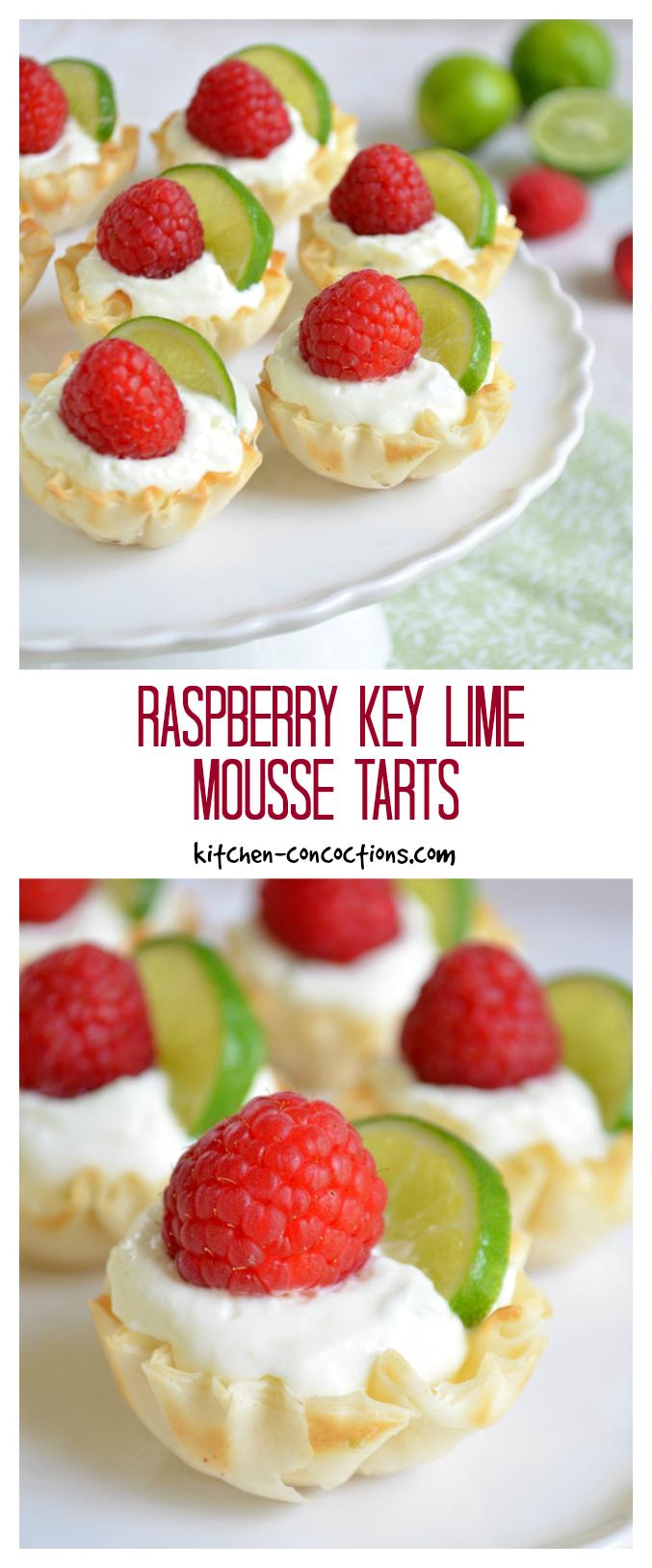 Raspberry Key Lime Mousse Tarts