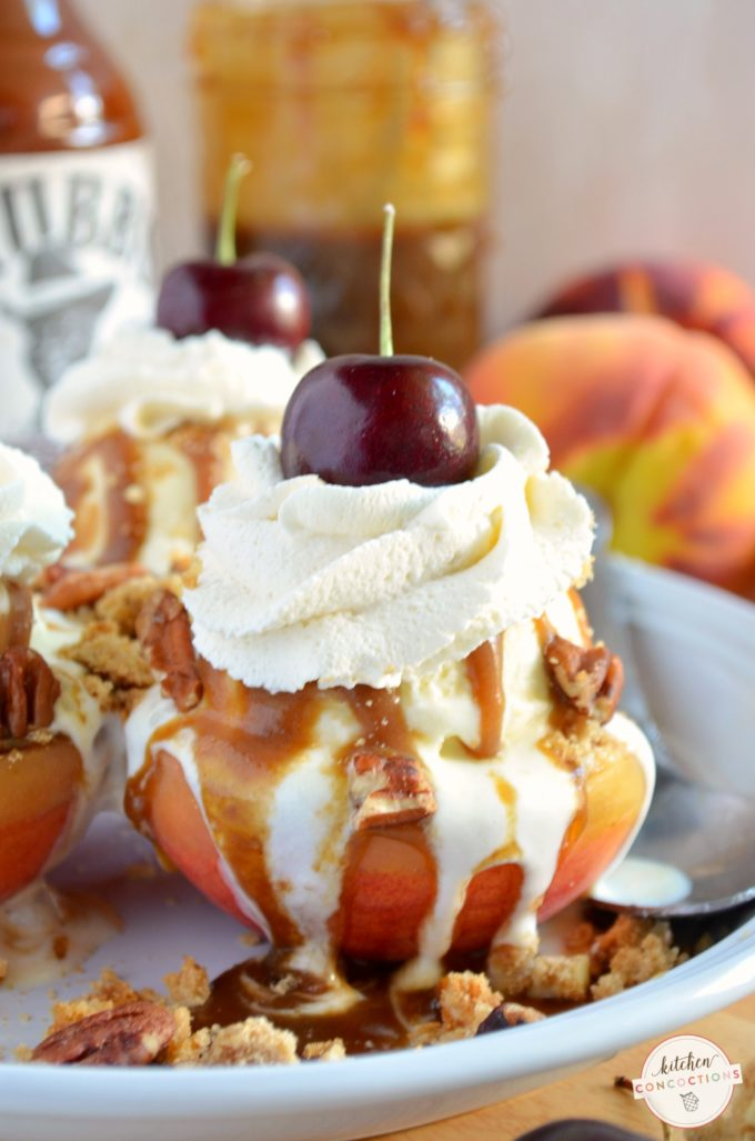 Grilled Peach Sundaes with Sticky Sweet Caramel Sauce