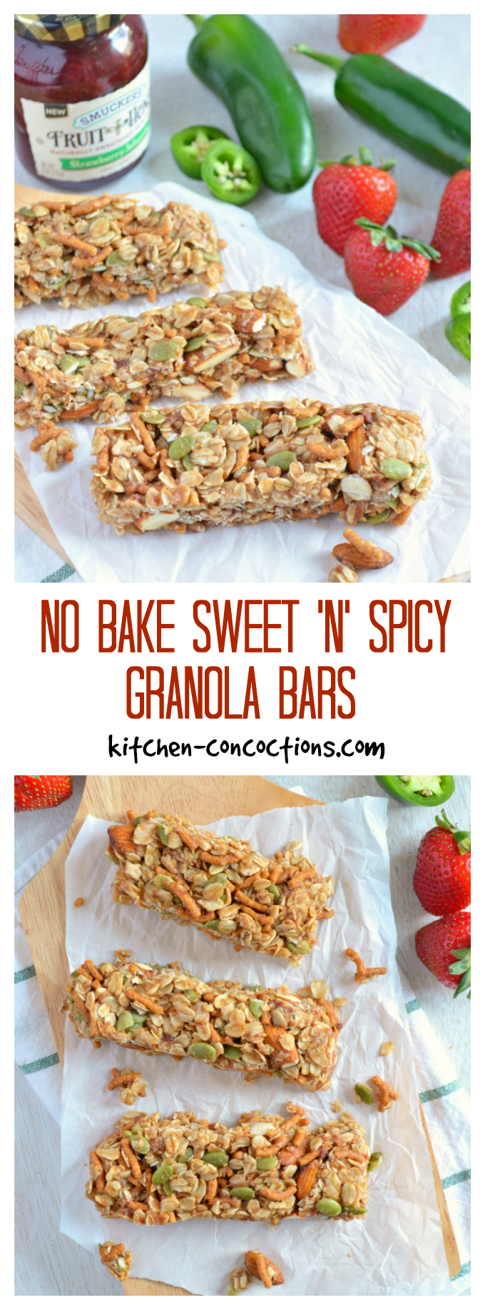 No Bake Sweet 'n' Spicy Granola Bars