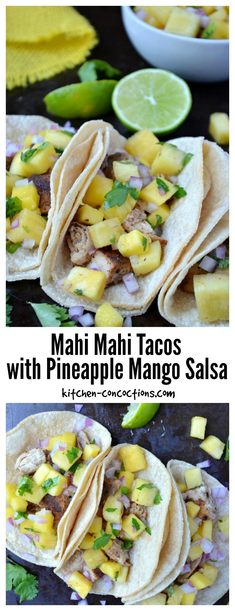Mahi Mahi Tacos with Pineapple Mango Salsa