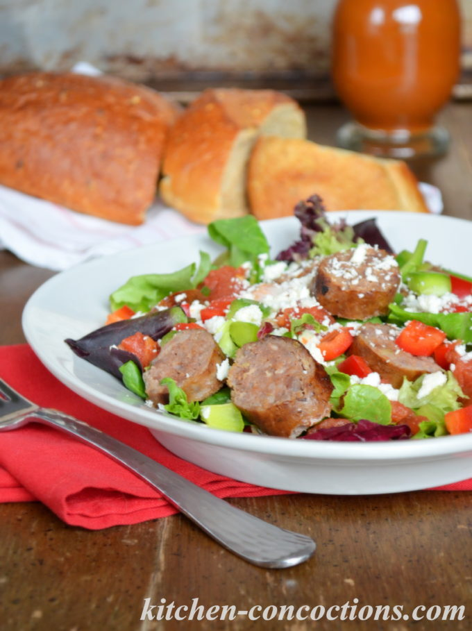 Sausage and Pepper Salad with Spicy Tomato Vinaigrette
