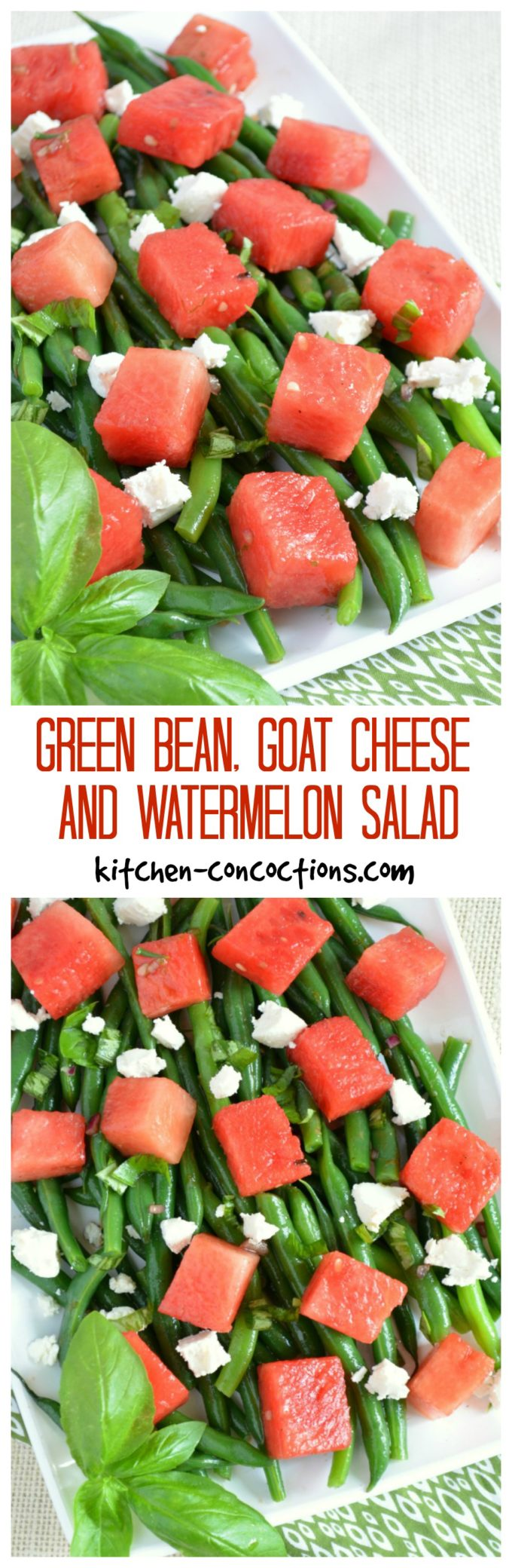Green Bean, Goat Cheese and Watermelon Salad