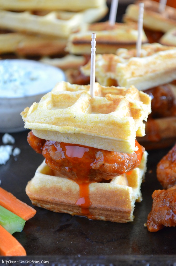 Buffalo Chicken and Waffle Sliders