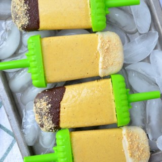 Chocolate Covered Pumpkin Pie Popsicles