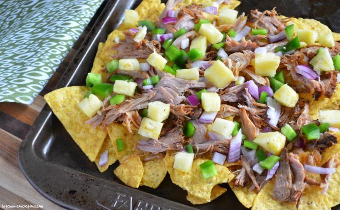 Hawaiian Pulled Pork Nachos with Pineapple Mango Guacamole