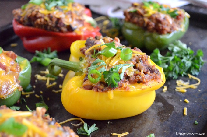 Three Bean Chili Stuffed Bell Peppers
