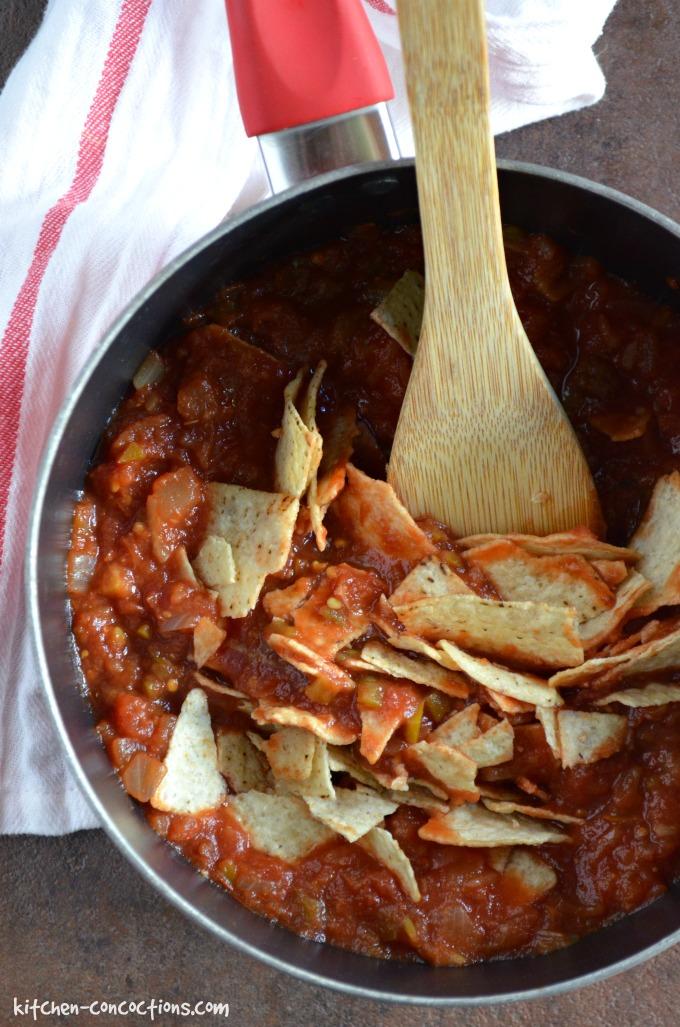 Bean and Chorizo Chilaquiles