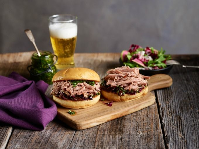 Hearty Pork Butt Sandwiches with Bitter Winter Salad and Salsa Verde