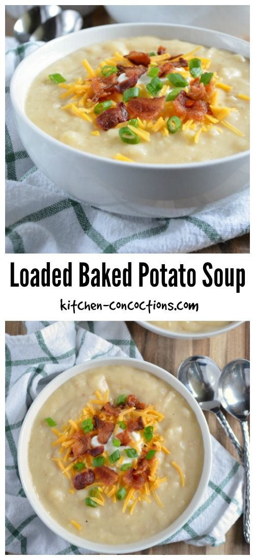 A healthier Loaded Baked Potato Soup recipe from Kitchen Concoctions