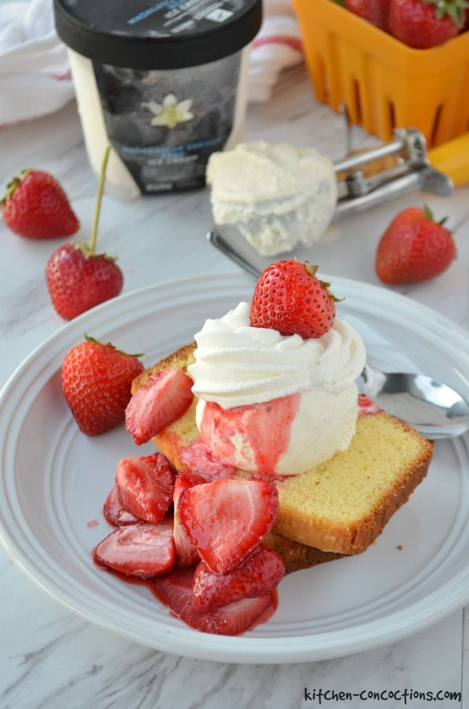 Roasted Strawberry Shortcake Ice Cream Sundaes images