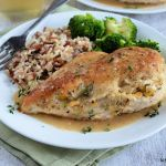Cheddar and Apple Stuffed Chicken with Apple Cider Gravy