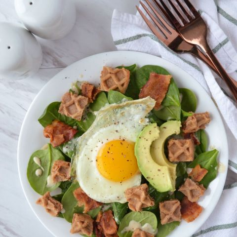 Bacon and Egg Breakfast Salad with Waffle Croutons