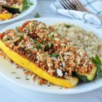 Sausage and Pepper Stuffed Summer Squash