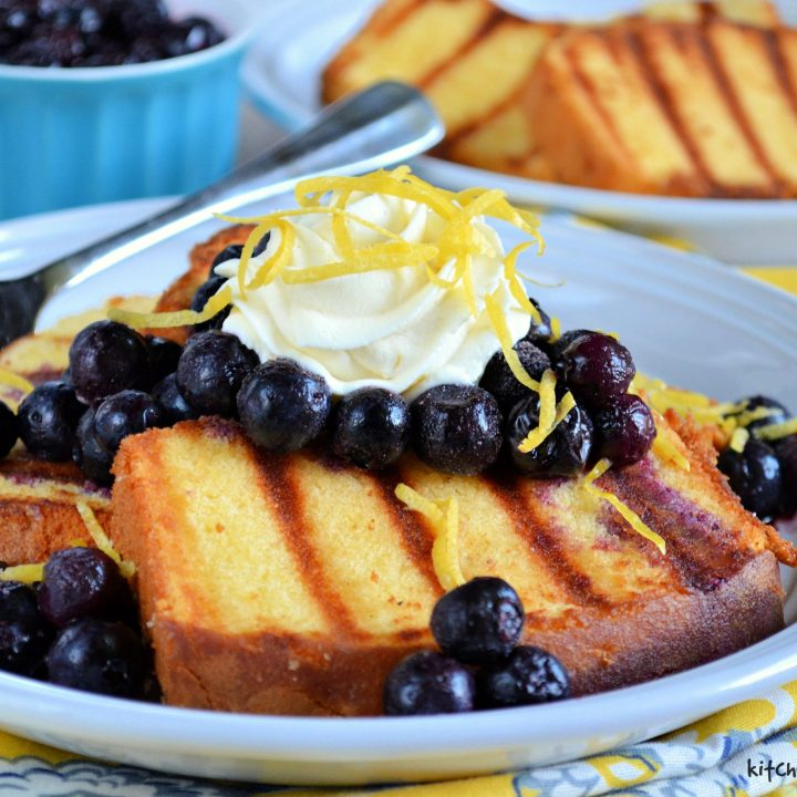 Grilled Pound Cake with Blueberries and Lemon Honey Whipped Cream