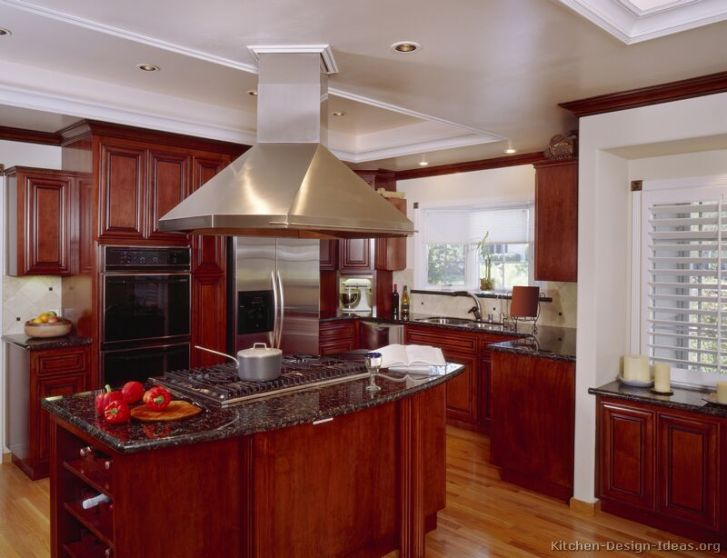 Kitchens Traditional Dark Wood Cherry Color