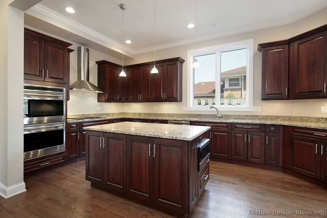 Kitchens with Cherry Cabinets and Dark Wood Floors