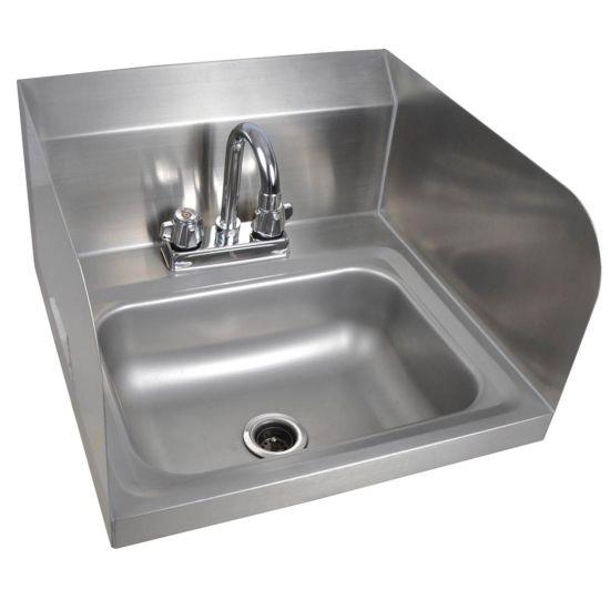 prepline phs16 sp 16 hand sink 2 side splash with faucet nsf