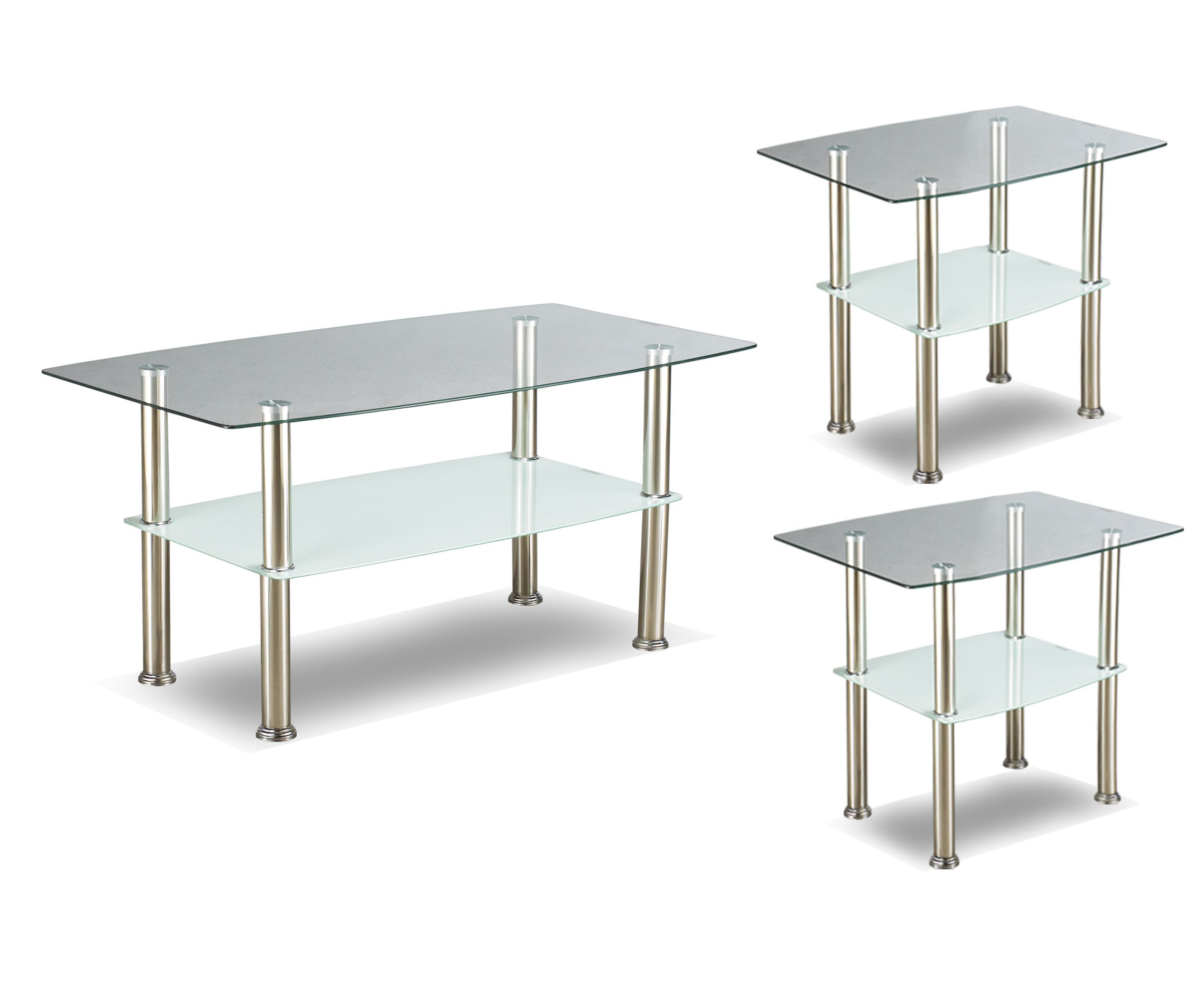if 2026 3pc coffee table set with glass top and chrome legs