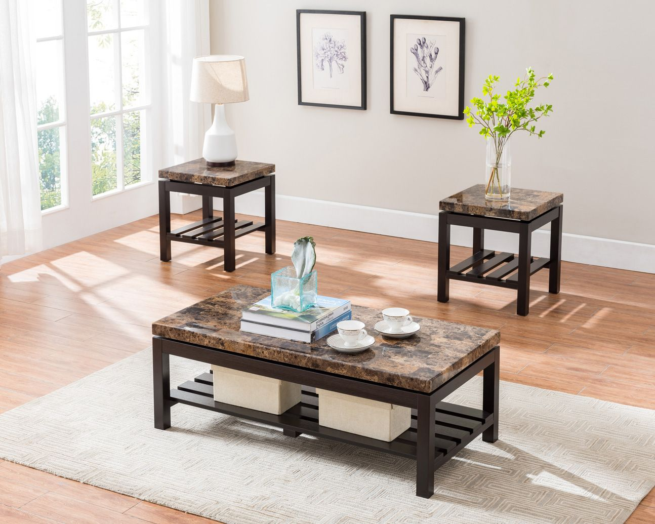 3 pc espresso coffee table set with light brown marble