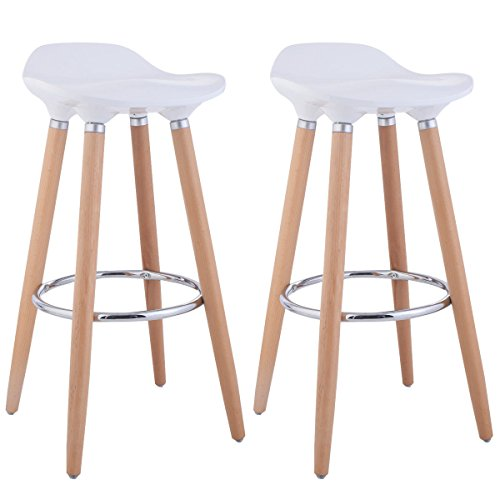 Costway Set Of 2 ABS Eames Style Chair Bar Stool Modern Metal Barstool  Counter Stools With
