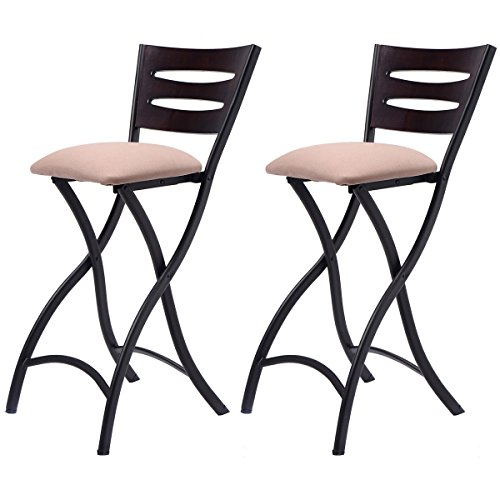 Costway Set Of 2 Folding Bar Stools Counter Height Bistro Dining Kitchen Pub  Chair