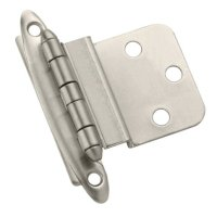 Amerock BP3417G10 Non Self-Closing, Face Mount Hinge with 3/8in(10mm) Inset - Satin Nickel - 2 Pack