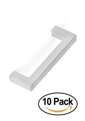 birdrock home square handle brushed nickel 10 pack 3 inch kitchen cupboard
