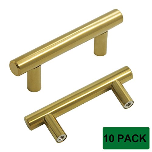 probrico brushed brass modern cabinet hardware handle pull kitchen cabinet t bar knobs and pull handles