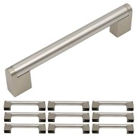 Homidy Kitchen Cabinet Door Handles Brushed Nickel 128mm(5 inch) Hole Centers Modern Boss Bar Cabinet Pulls and Knobs 10 Pack
