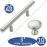 "Kitchen Cabinet Pulls Sunriver Cabinet Handles 26 Pack Cabinet Pulls Brushed Nickel 10 Pack Cabinet Knobs Kitchen Cabinet Hardware Stainless Steel 3"" Hole Centers for Bathroom Cupboard Door and Drawer"