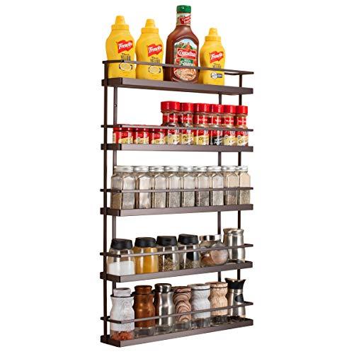 2Set Wall Mount Spice Rack Holder Kitchen Hang Hook Organizer Home Storage Black