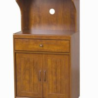 Home Source Industries Kevin Oak Microwave Cart, Light Walnut