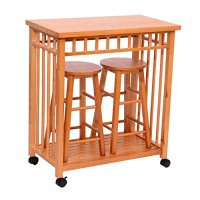 "Homcom 32"" Rolling Wooden Storage Cart Kitchen Trolley w/ Stools"