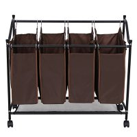 Songmics Dark Brown 4-Bag Rolling Laundry Sorter Cart Heavy-duty Laundry Bin Bag Hamper with 4 Wheels URLS95Z