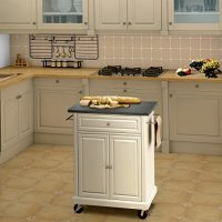 Naomi Home Windsor Cuisine Cart White/Black Granite