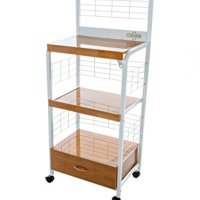 Home Source Industries 4397 Metal Microwave Cart with 2 Electrical Outlets, White with Light Wood Trim
