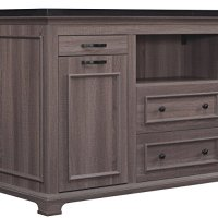 Bell'O KI5621-48-PO22 The Chef Kitchen Island with Granite Top, Weathered Oak