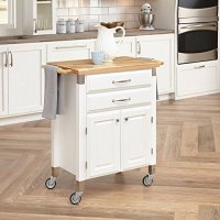 Gourmet Rolling Prep & Serve Kitchen Cart Home Styles White Kitchen Island on Wheels Movable Kitchen Island Kitchen Table with Storage Island Cabinet