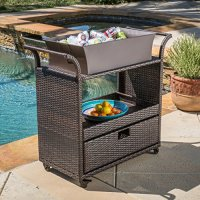 Bar Cart Utility Rolling Wheels Wicker Kitchen Island Storage Portable Table Indoor Outdoor Backyard Patio Food Drinks Serving Trolly bar cart Resin wicker metal frame brown Assembly required